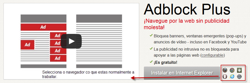 O ABPBlock podese descargar directamente dende Chrome Store ou como Addon Firefox