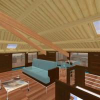 Establecese unha combinación de mobles (estanterias e armario). Neste caso, optase polas zonas con espazo no ancho a poñer armarios con portas de cristal semi-transparente (ó acido)